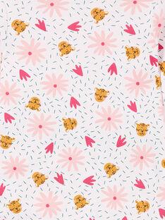 Rosa gerippter Kinderpyjama mit Panther- und Blumenprint LEFAPYJRIB / 21SH1158PYJ321