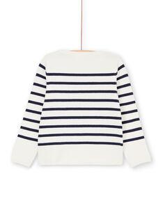 Gestreifter Pullover in Weiß und Marineblau LANAUPULL / 21S901P1PUL001