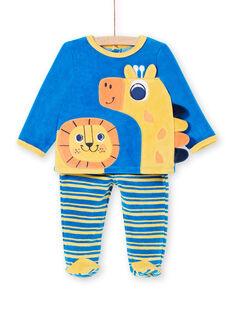 Samt Baby Junge Pyjamas mit Löwe und Giraffe Animation LEFUPYJAMI / 21SH1411PYJC209