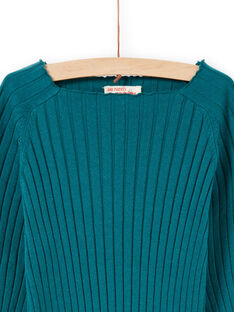 Unifarbener langärmeliger entenblauer Pullover für Mädchen MAJOPULL2 / 21W901N1PUL714