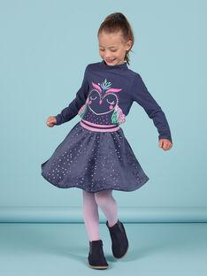 Skaterrock für Mädchen aus blauem Samt mit goldenen Tupfen MAPLAJUP2 / 21W901O2JUPC202