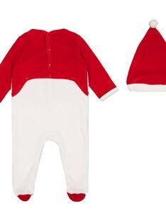 Weihnachtsstrampler mit Mütze aus Samt Baby Junge GEGAGRENO / 19WH14T2GRE000