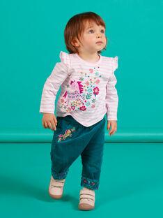 Baby Mädchen lila gestreiftes Einhorn Langarm T-Shirt MITUTEE1 / 21WG09K1TMLH700