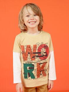 Langarm-T-Shirt beige und ecru mit Fantasy-Motiven - Junge MOCOTEE1 / 21W902L1TMLA006