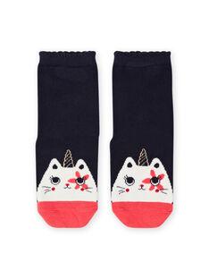 Blaue Socken für Baby-Mädchen mit Katzen-Horn-Design MYAMIXCHO / 21WI01J1SOQC205