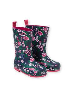 Regenstiefel navy blau und rosa Kind Mädchen KFBPFLEUR / 20XK3562D0C010