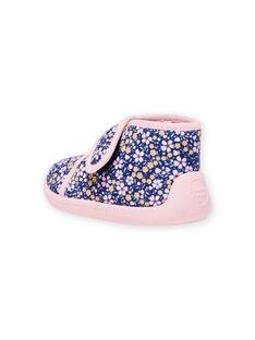 Marineblaue Hausschuhe für Mädchen mit Blumendruck MIPANTFLOWER / 21XK3721D0A070