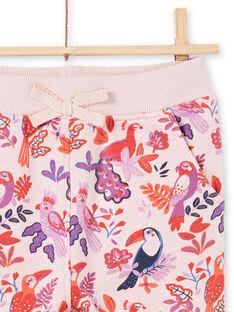 Mädchen rosa und lila Jogginganzug mit Papageien und Blumen drucken MAJOBAJOG3 / 21W90113JGBD314