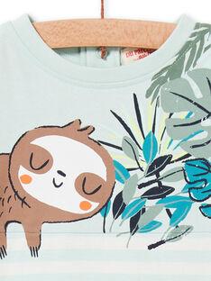Wasser grün und weiß gestreiftes Baby-Jungen-T-Shirt LUVERTI3 / 21SG10Q3TMCG632