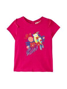 Fuchsiarotes kurzärmeliges Baby-T-Shirt für Mädchen JIMARTI / 20SG09P1TMC310