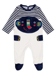 Strampler aus Samt marineblau und naturweiß gestreift Baby Junge GEGAGREFAN / 19WH14N2GRE070