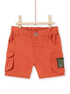 Baby Junge braune Shorts mit Leopardenaufnäher LUTERBER2 / 21SG10V2BERF519