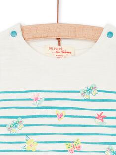 Weiß und blau gestreiftes Baby Mädchen-T-Shirt LIVERTI2 / 21SG09Q1TMC001