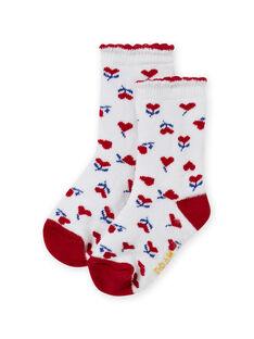 Baby Mädchen rot und ecru Herzdruck Socken MYIMIXSOQB / 21WI09J1SOQ001