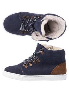 Marineblaue Sneakers Lackleder Kind Junge GGBASCHAUD / 19WK36X2D3F070