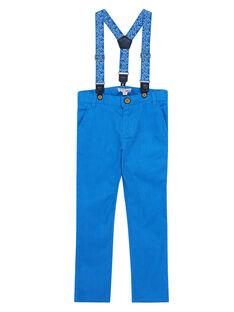 Blaue Jungenhose aus Leinen und Baumwolle mit bedruckten Trägern JOSOPAN / 20S90281PAN201
