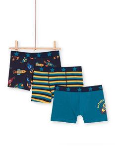 Set aus 3 blauen und gelben Boxershorts für Jungen LEGOBOXFUZ / 21SH1227BOXC235
