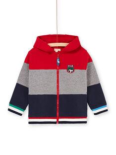 Rot und grau gestreifter Kapuzenpulli für Jungen LOHAGIL / 21S902X1GIL050