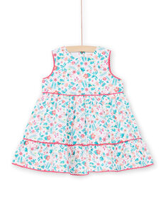 Weiß und blau Baby Mädchen Kleid LIBONROB2 / 21SG09W1ROB000