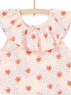 Baby Mädchen nackt Flamingo und Palme gedruckt T-Shirt LATERTI1 / 21S901V1TMCD322