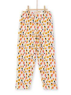 Kinderschlafanzug für Mädchen aus gebürstetem Fleece mit Giraffenmuster LEFAPYJGIR / 21SH1113PYJ006