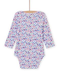 Baby-Mädchen-Body mit langen Ärmeln und Blumendruck MEFIBODLIB / 21WH13C6BDL001