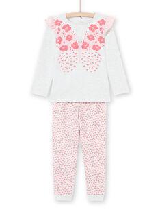 T-Shirt- und Hosen-Set für Mädchen in Ecru und Rosa MEFAPYJFLY / 21WH1135PYJ006