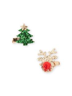 Satz von 2 sortierten Kind Mädchen Weihnachtsschleifen MYANOCLIC3 / 21WI01T7BRTK008