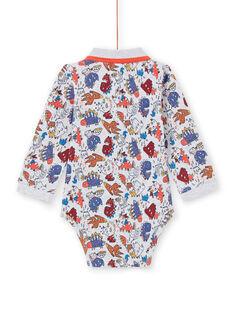 Langarm-Body für Baby-Jungen mit Kragen und Dinosaurier-Print MUPABOD / 21WG10H1BOD943