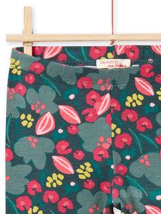 Girl's grün und rosa Blume drucken Leggings MYAKALEG2 / 21WI01I2CALG604