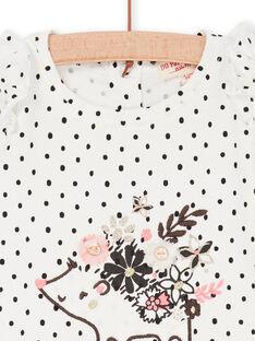 Weiß und marineblau T-Shirt mit Baby Mädchen Polka Dots LIPOETEE1 / 21SG09Y2TML001