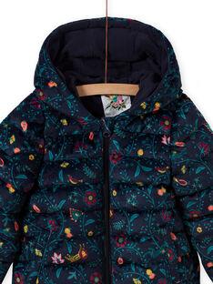 Gesteppte wattierte Jacke mit buntem Blumendruck aus Samt für Mädchen MAVELDOUNE / 21W90154D3E070