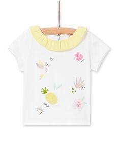 Weißes und gelbes Baby-Mädchen-T-Shirt LIBALBRA / 21SG09O1BRA000