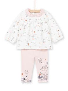 Weiße Bluse und rosa Leggings Phantasie Druck Geburt Mädchen MOU1ENS2 / 21WF0341ENS001