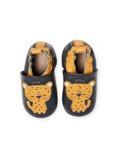 Blaue Lederpantoffeln Baby Junge Tiger MUCHOLEO / 21XK3823D3S070