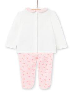 Samt-Baby-Pyjama für Mädchen mit Vogelmotiven LEFIPYJAMI / 21SH1311PYJ001