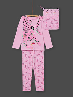 Rosa T-Shirt und Hose Pyjama-Set für Mädchen MEFAPYJAGU / 21WH1171PYGH700