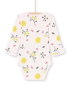 Baby Mädchen blass rosa und gelb Blumendruck Strampler MEFIBODFLE / 21WH13B7BDL301