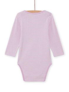 Baby Mädchen lavendel gestreiften Body mit Einhorn-Design MEFIBODLI / 21WH13C3BDL326