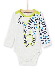 Baby-Jungen-Body in Grün und Ecru MUKABOD / 21WG10I1BOD006