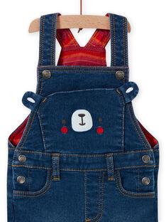 Mittelgroßer Jeans-Overall für Baby-Jungen mit Teddybär-Aufdruck MUFUNSAL2 / 21WG10M1SALP274