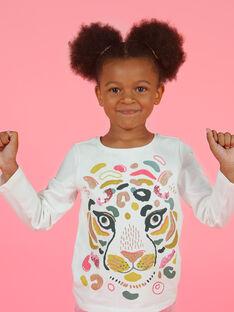 Mädchen-T-Shirt in Gelb und Ecru MAKATEE3 / 21W901I2TML001