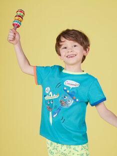 Türkisfarbenes kurzärmeliges T-Shirt für Jungen, mit Maracas JOMARTI1 / 20S902P3TMCC242