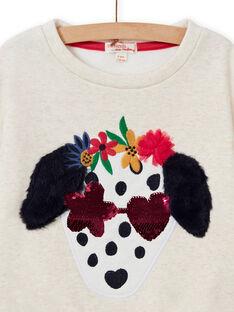 Kind Mädchen ecru Hund Sweatshirt MAMIXSWEA / 21W901J1SWE006
