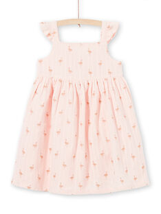 Rosa Flamingo Print Kleid mit Pailletten LATEROB2 / 21S901V4ROBD322