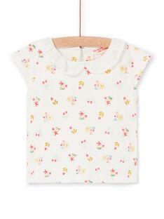 Baby Mädchen ecru und rosa geblümten Druck T-shirt LIVERBRA / 21SG09Q1BRA001