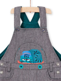 Baby-Jungen-Tintenblau gestreifter Overall mit Katzenmotiv MUTUSAL1 / 21WG10K2SALC234