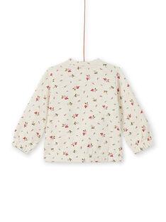 Beigefarbenes Jogging-Top für Baby-Mädchen mit Blumendruck MIKAHOJOG / 21WG09I1JGHA011
