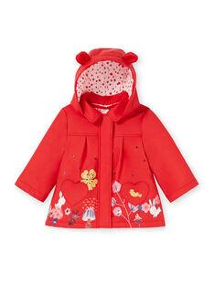 Baby Mädchen rot mit Kapuze Regenmantel LIHAIMP / 21SG09R1IMP505