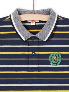 Langarm-Poloshirt für Jungen mit Streifen, nachtblau MOKAPOL / 21W902I1POL705